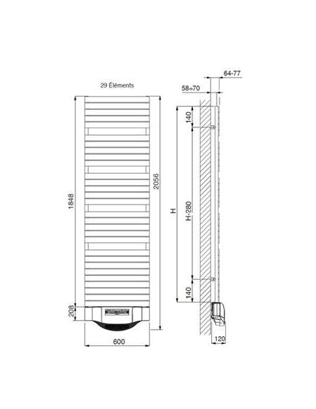 Schéma  sèche serviettes électrique Dory Fan 1200W
