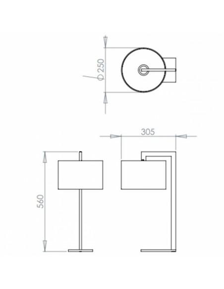 Dimensions Lampe de table Ravello finition chrome astro lighting Valente Design