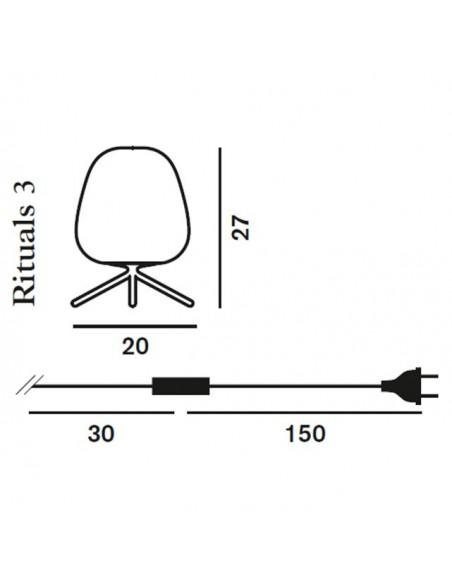 dimensions lampe à poser Rituals 3 plan