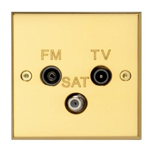 Plaque Carrée TV-FM-SAT Laiton Poli Verni