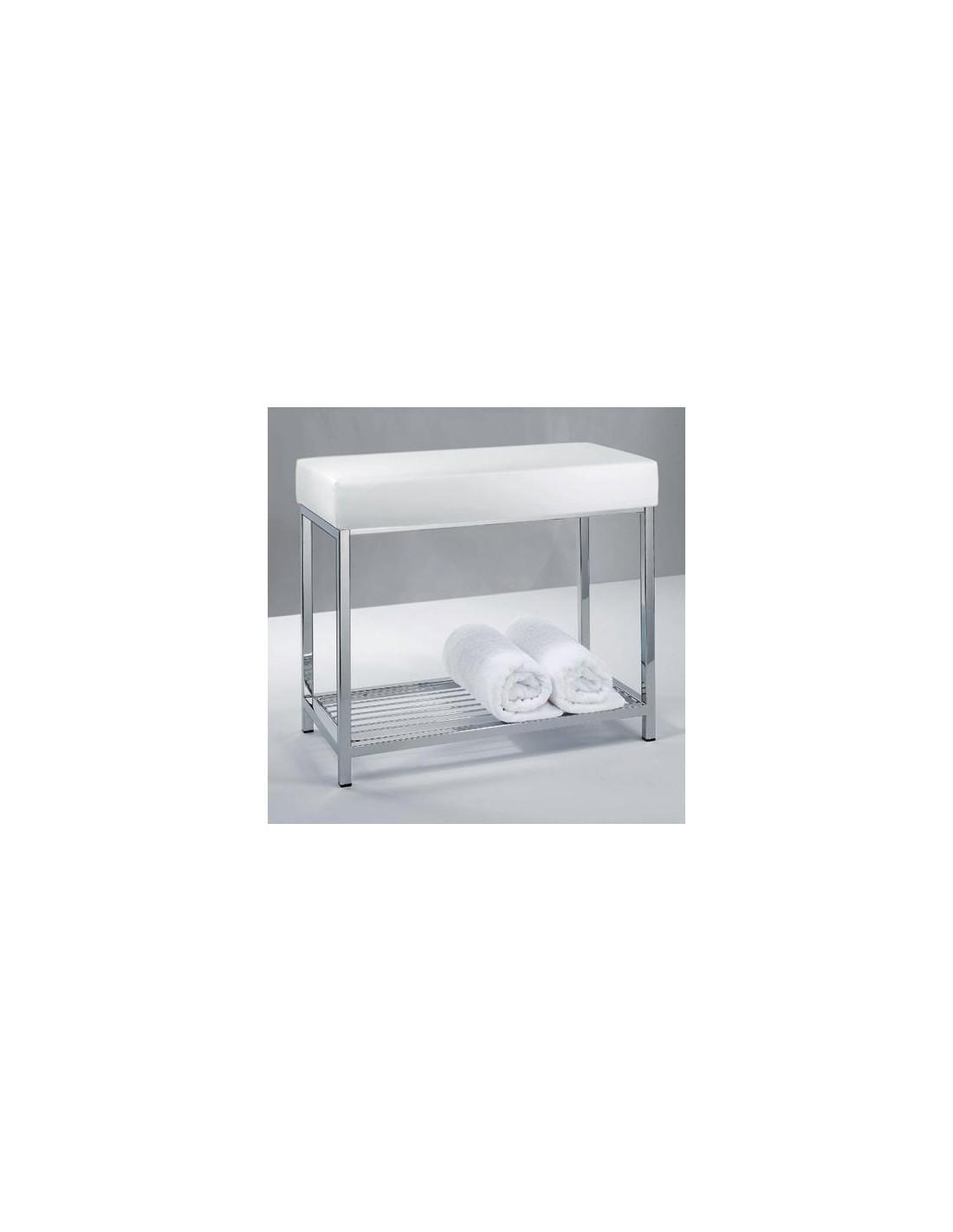 Banc avec étagère cuir synthétique blanc Decor Walter