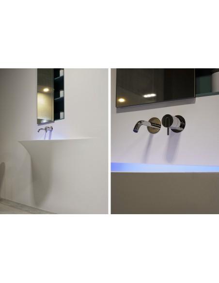 Détail de la robinetterie du lavabo silenzio LED de la marque Antonio Lupi - Valente Design