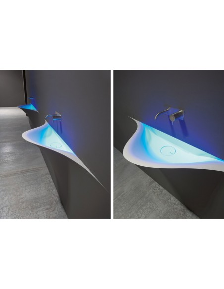 Lave-mains futuriste silenzio LED dans chambre par la marque Antonio Lupi - Valente Design