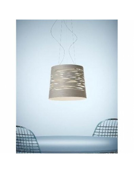 Suspension Tress Grande LED foscarini blanche mise en situation