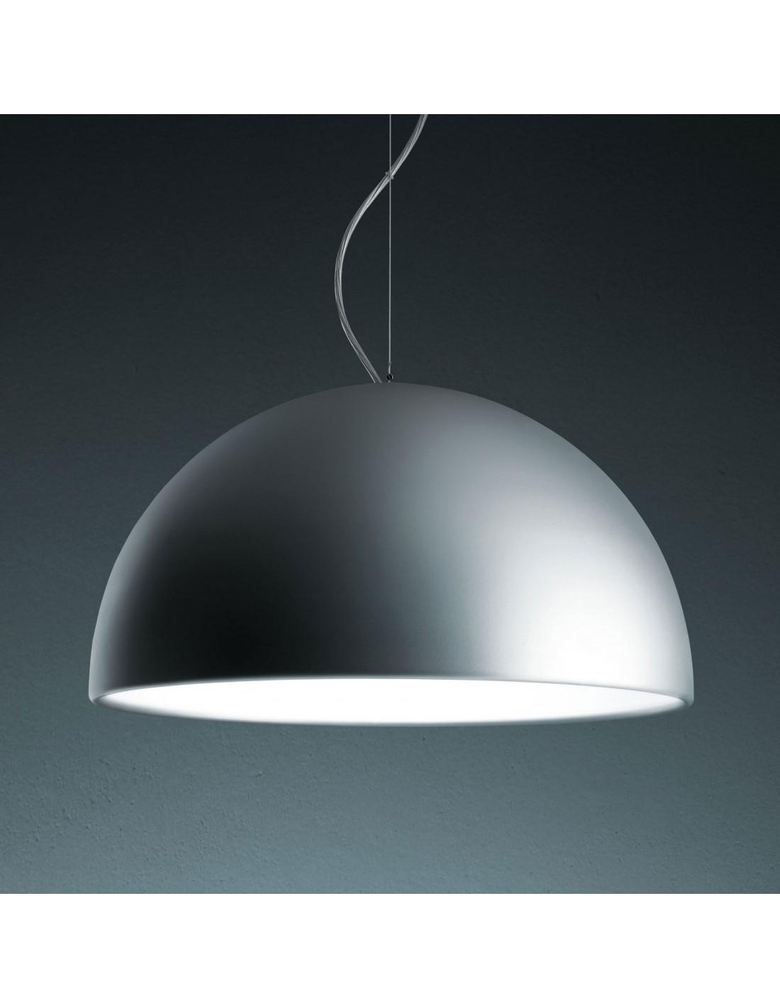 Suspension Cupola grand modèle en métal verni aluminium pour l\'extérieur et blanc à l\'intérieur Fontana Arte