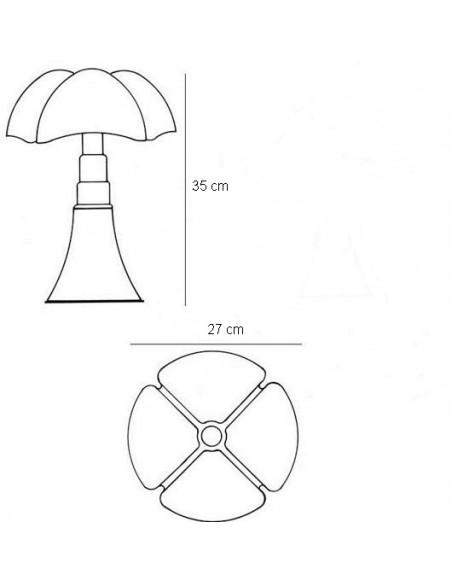 Dimensions Lampe de table Minipipistrello - Martinelli Luce Valente Design Gae Aulenti