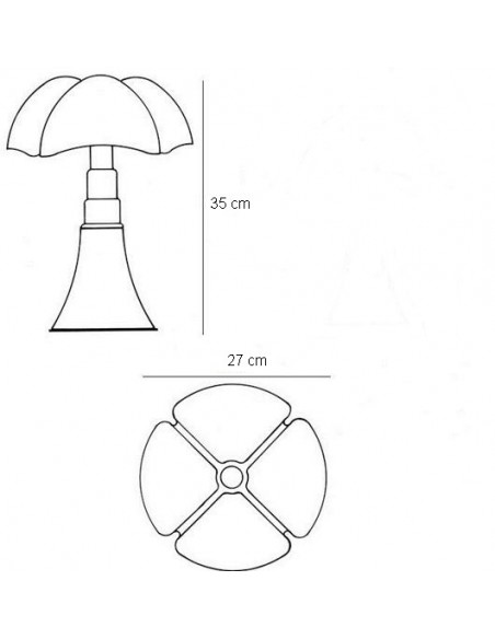 Lampe de table Mini pipistrello dimensions et plan