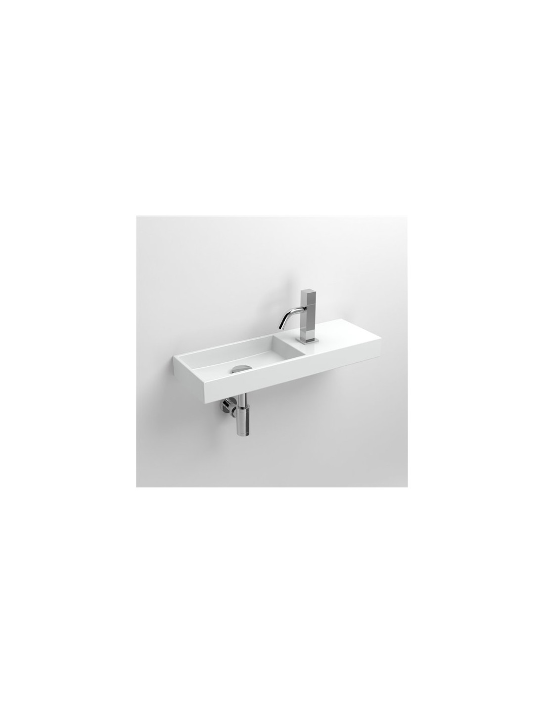 Lave mains 56 cm Mini Wash Me  percement à droite en céramique blanc pour la marque Clou