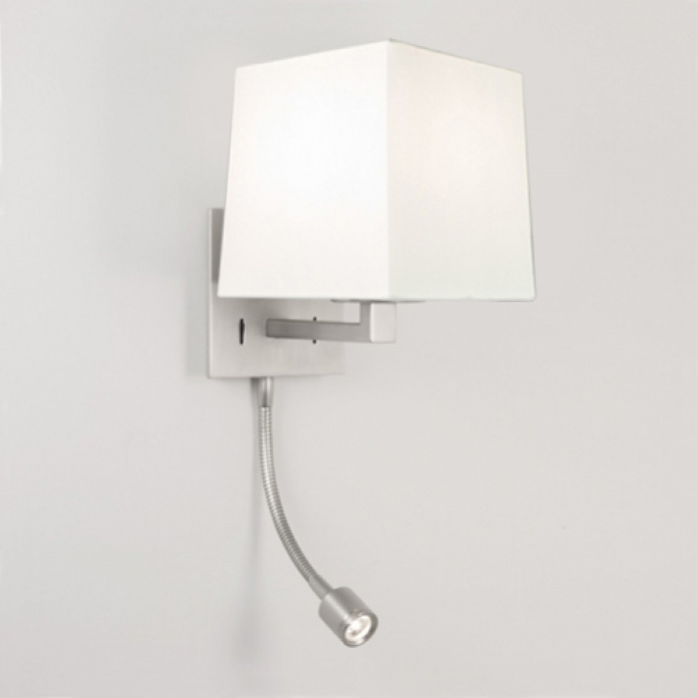 Applique Azumi LED avec liseuse Classic nickel mat abat jour blanc astro lighting